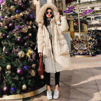 棉衣服2018新款女�n版��松�B帽加厚秋冬季面包服�r尚工�b外套 米白色