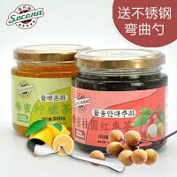 送弯曲勺 Socona蜂蜜桂圆茶500g+柠檬茶500g韩国风味水果酱冲饮品