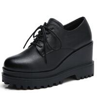 新款增高鞋女真皮二层牛皮松糕底加绒女鞋新款防水台时尚厚底9cm增高 黑色 单鞋