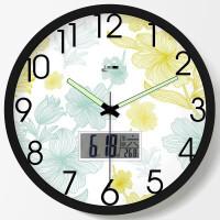 卧室挂钟静音夜光绿色工艺挂钟孔雀开屏麦丁夜光挂钟客厅时尚静音清新创意钟表壁钟绿色简约石英钟C717