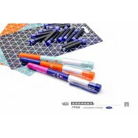 小白点文具 可擦换囊钢笔套装FP608 2支直液式彩色钢笔+16支蓝色墨囊/创意学生学习办公用品儿童练字写作业考试桔色