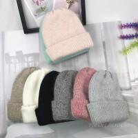 兔毛加厚针织帽女混色简约秋冬季保暖护耳帽抗寒帽加大加厚毛线帽
