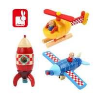 木制拆装飞机火箭直升机模型 儿童磁性拆装益智玩具