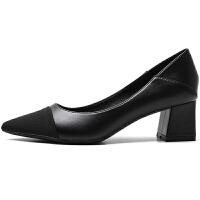 高跟鞋女粗跟春秋2019新款百搭性感尖头撞色浅口中跟单鞋33小码夏季百搭鞋