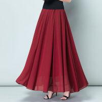 雪纺半身长裙女夏20*摆中长款仙女裙酒红色高腰百褶a字裙 S 腰围:1.8-1.9尺