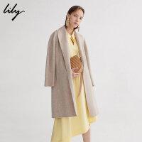 【25折到手价:459.75元】 Lily春秋新款女装翻领中长款系带羊毛大衣毛呢外套118420F1127