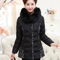 中年女装冬装棉衣短款加厚妈妈装外套中老年人棉袄50-60-70岁 黑色 XL