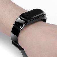新款适用小米3手环金属表带新月款小米智能手环4腕带3代nfc版个性多彩酷炫潮防水三代运动轻奢不锈钢米