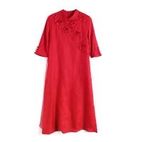 2018新款女装春夏装 中国风中长款刺绣立体花朵连衣裙女GH154 红色