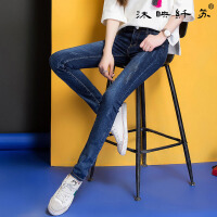 女裤2017初春新款牛仔裤女双色显瘦小脚裤WM6102