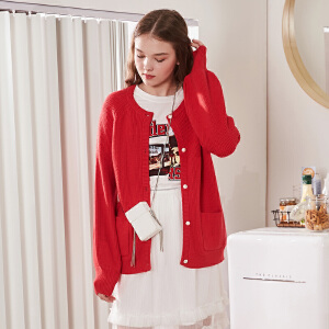 【2件3折价99元】唐狮chic毛衣女早秋新款女上衣宽松针织开衫外搭学生短款红色韩版