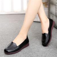 春季新款妈妈鞋软底舒适平底中年皮鞋女中老年人女鞋奶奶单鞋