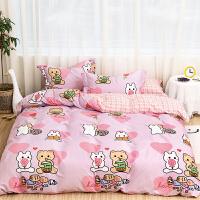 多喜爱新品床上用品四件套全棉纯棉床单卡通甜美三件套恋爱日记