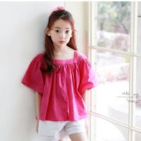 新款夏装韩版童装露肩中大童上衣短袖T恤女童