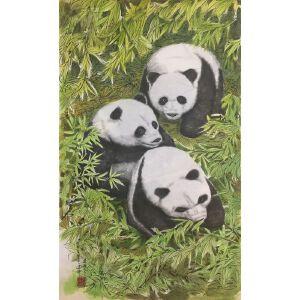 朝鲜水墨画 一级画家 金鹤松《熊猫》【大千艺术品】