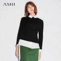 Amii[极简主义]2017秋装新款简洁修身半高领开叉打底毛衣11742945