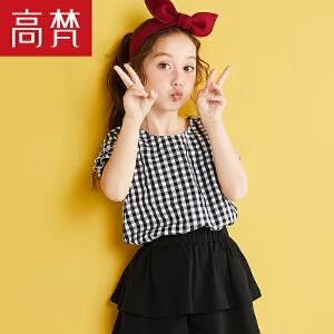 高梵2018春夏新品格纹花边短袖休闲娃娃衫女童百搭短袖T恤舒适潮
