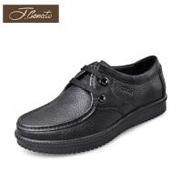 宾度男鞋春季商务正装鞋皮鞋男士羊皮鞋正品圆头低帮爸爸鞋子