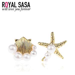 皇家莎莎 耳钉耳环耳扣配饰首饰品 日韩国版气质时尚仿珍珠不对称海星 情人节礼物送女友新款