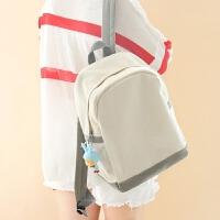 韩版百搭学院风学生休闲书包简约双肩包女纯色拼接背包