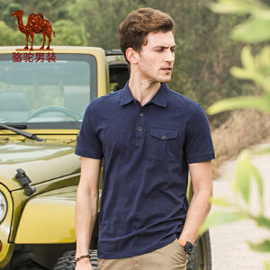 骆驼男装 夏季新款时尚商务男装纯棉翻领Polo衫休闲短袖T恤