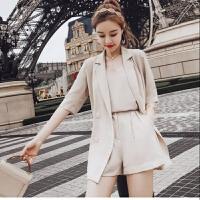 雪纺套装女夏时尚2019韩版薄款休闲网红西装短裤三件套闺蜜装