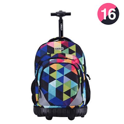 拉杆书包学生男女孩中学生拖杆书包双肩旅行背包3-6年级