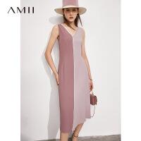 Amii极简小心机V领撞色连衣裙2021夏新款无袖背心裙子法式长裙女