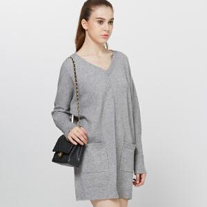 针织毛衣裙秋冬欧美大码女装V领套头前置口袋纯色长袖宽松连衣裙