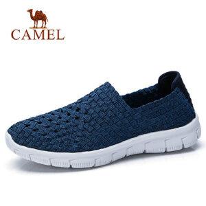 camel 骆驼春季潮流新品透气轻便休闲鞋情侣款套脚编织鞋