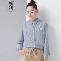 初语冬季新品 卡通印花条纹泡泡布衬衫女8640212021