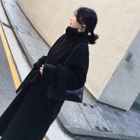 毛呢外套女秋冬季2018新款流行大衣韩版学生赫本风中长款呢子大衣 黑色优质夹棉加厚 S