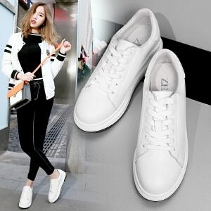 ZHR2018春季新款真皮平底小白鞋女韩版厚底休闲鞋学生单鞋板鞋潮G101