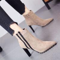 靴子女2018新款短靴高跟裸靴韩版小短靴马丁女靴粗跟秋冬瘦瘦靴