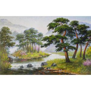 朝鲜油画 一级画家 尹成学《木秀于林》【大千艺术品】