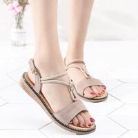 新款仙女风凉鞋女夏季平底百搭时尚学生真皮平跟孕妇罗马女鞋