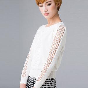 灏领衣尚春夏宽松短款长袖T恤套头针织衫格子镂空蕾丝拼接打底衫