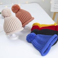 婴儿帽子秋冬季女宝宝毛球毛线帽婴幼儿针织帽潮