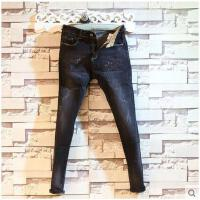 新款时尚休闲男装潮男士牛仔裤做旧复古小直脚长裤子