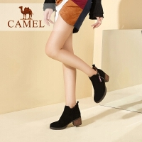 camel/骆驼女鞋 秋冬新款 简约绒面短靴女英伦百搭磨砂皮短筒女靴子