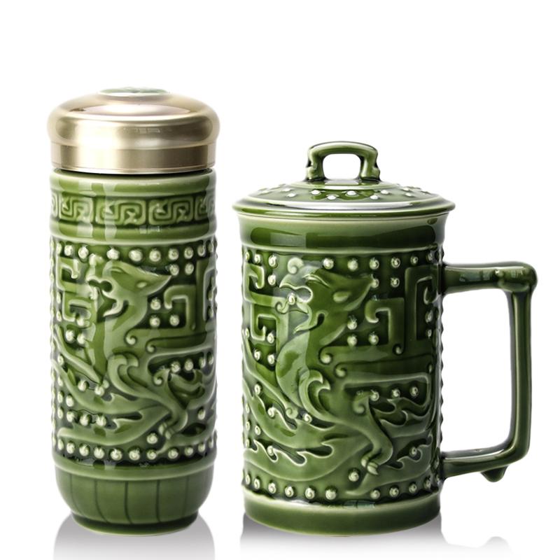 乾唐轩活瓷杯大龙凤礼盒2入礼盒套装创意陶瓷茶水杯子
