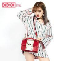 A-ZA/阿札包包女新款单肩包铆钉女包韩版百搭包学生手提包斜挎包