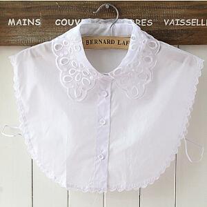 货到付款Yinbeler 韩版衬衫假领百搭时尚花朵镂空假领衬衫领女假领装饰领立领甜美百搭假衣领