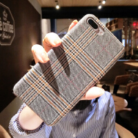 冬季气质格子苹果6s手机壳iPhone7plus/8/xs max创意绒布潮男女xr