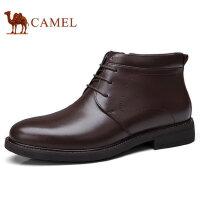 camel 骆驼 冬季男士棉鞋加绒加厚保暖牛皮鞋商务短靴男鞋冬鞋