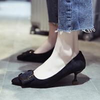 高跟鞋女细跟2019新款尖头性感豹纹浅口女鞋时尚韩版百搭职业单鞋百搭 黑色 高跟鞋 34 正码