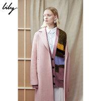 【不打烊价:569.7元】 Lily秋新款女装人字纹直筒羊毛中长款毛呢外套118430F1147