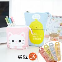 创意学生卡通帆布铅笔袋女文具盒韩国小清新可爱简约多功能笔袋