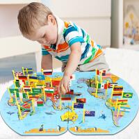 插世界地图拼图木质蒙氏益智玩具儿童认知学认国家