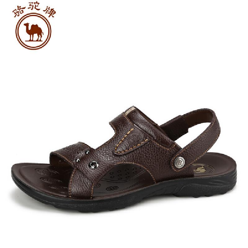 骆驼牌男凉鞋 夏季新品 休闲凉鞋男士透气牛皮户外沙滩鞋子